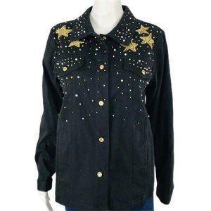 Quacker Factory Black Denim Jacket Stars Beaded